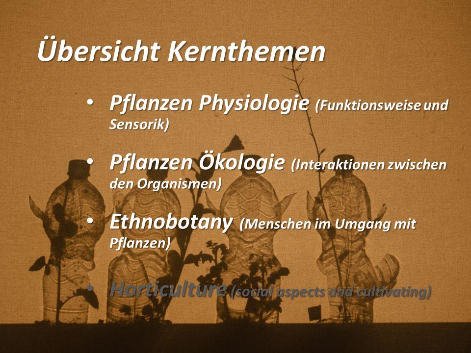 Übersicht Kernthemen Pflanzen Physiologie (Funktionsweise und Sensorik) Pflanzen Physiologie (Funktionsweise und Sensorik) Pflanzen Ökologie (Interakt