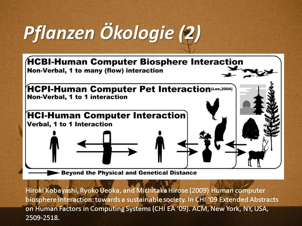 Pflanzen Ökologie (2) Hiroki Kobayashi, Ryoko Ueoka, and Michitaka Hirose (2009) Human computer biosphere interaction: towards a sustainable society.