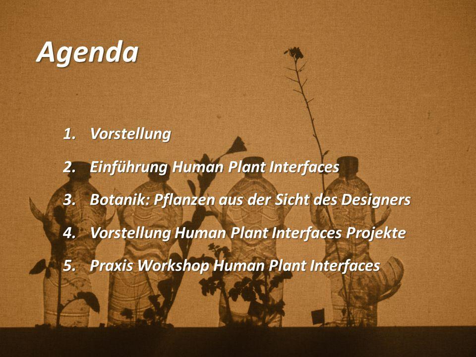 Agenda 1.Vorstellung 2.Einführung Human Plant Interfaces 3.Botanik: Pflanzen aus der Sicht des Designers 4.Vorstellung Human Plant Interfaces Projekte