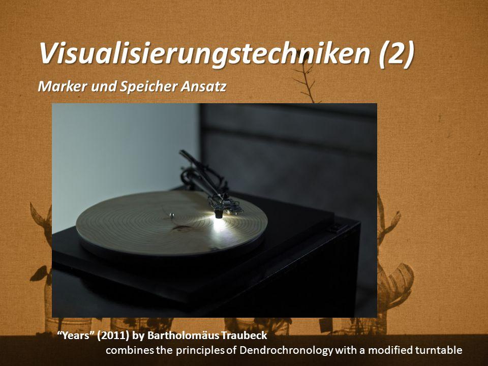 """Visualisierungstechniken (2) Marker und Speicher Ansatz """"Years"""" (2011) by Bartholomäus Traubeck combines the principles of Dendrochronology with a mod"""