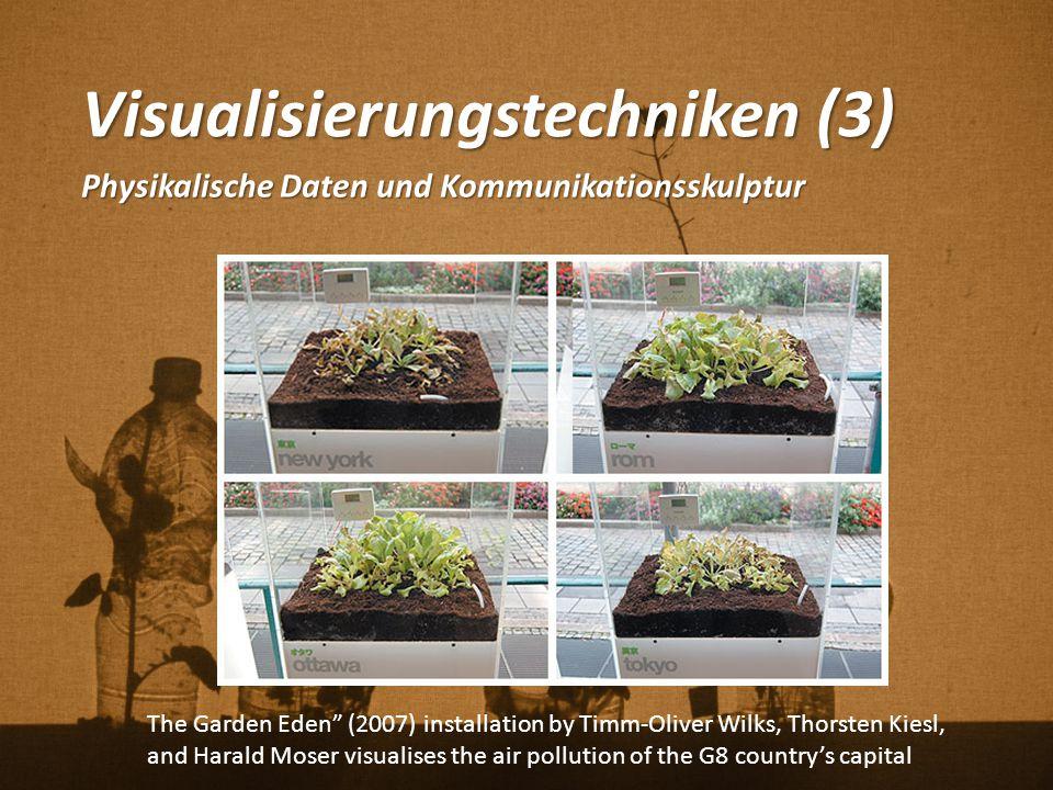 """Visualisierungstechniken (3) Physikalische Daten und Kommunikationsskulptur The Garden Eden"""" (2007) installation by Timm-Oliver Wilks, Thorsten Kiesl,"""