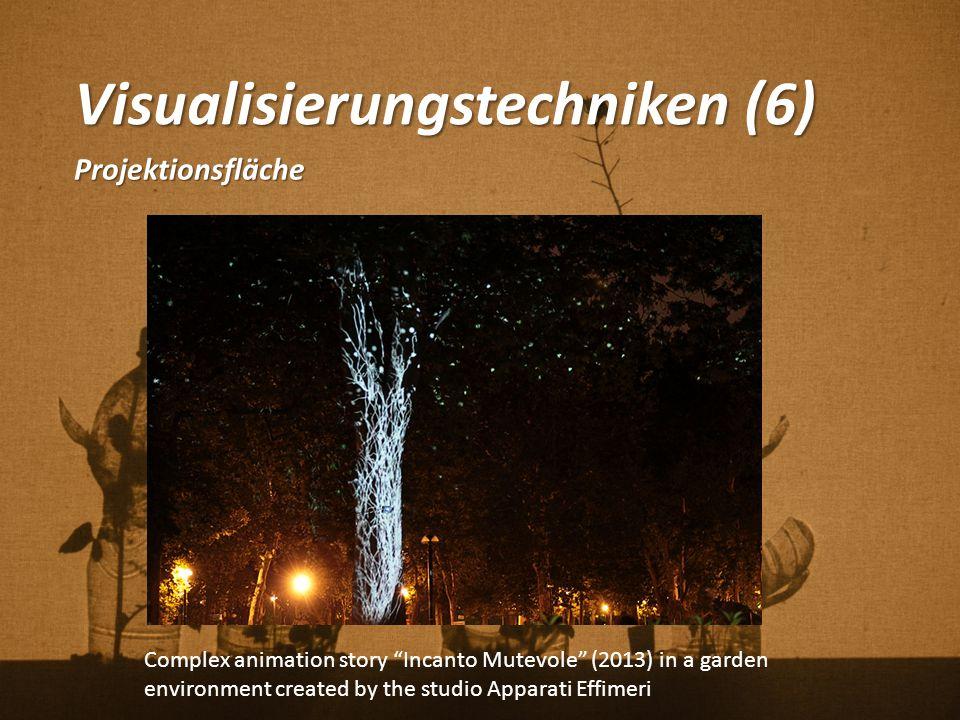 """Visualisierungstechniken (6) Projektionsfläche Complex animation story """"Incanto Mutevole"""" (2013) in a garden environment created by the studio Apparat"""