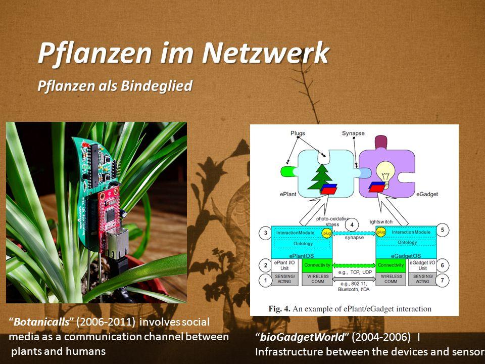 "Pflanzen im Netzwerk Pflanzen als Bindeglied ""Botanicalls"" (2006-2011) involves social media as a communication channel between plants and humans ""bio"