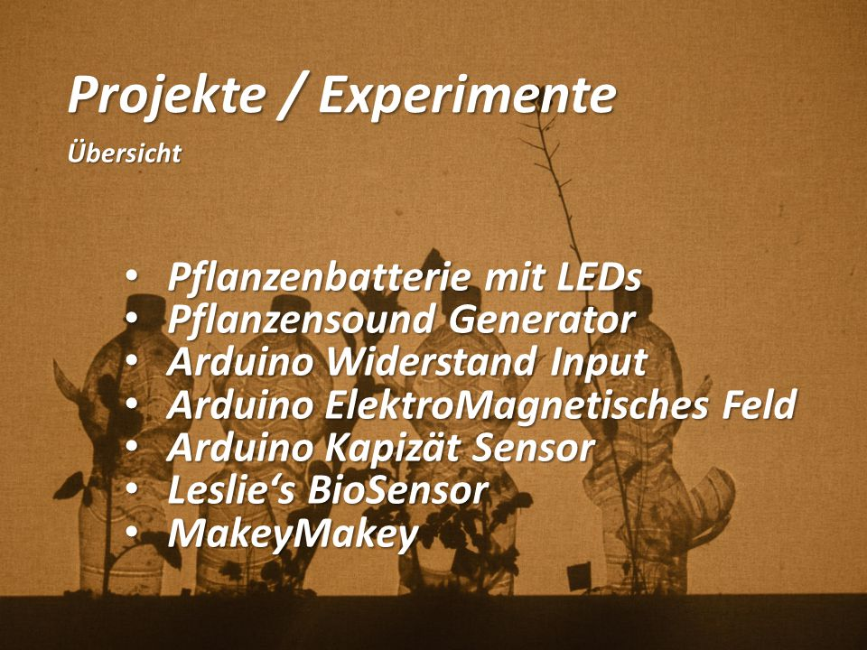 Projekte / Experimente Übersicht Pflanzenbatterie mit LEDs Pflanzenbatterie mit LEDs Pflanzensound Generator Pflanzensound Generator Arduino Widerstan
