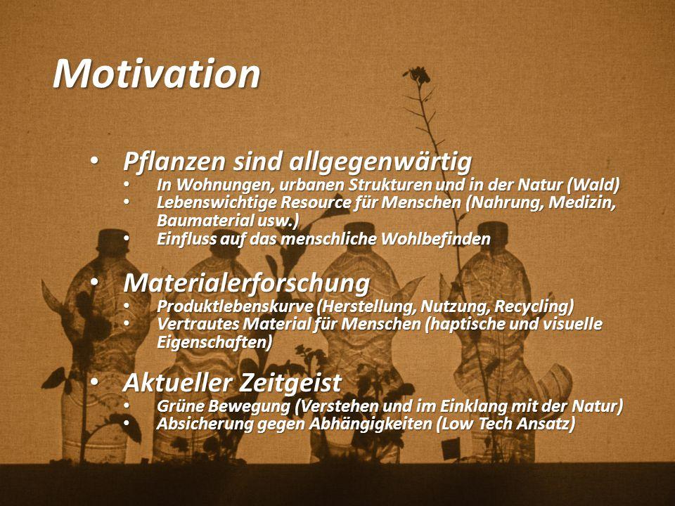 Motivation Pflanzen sind allgegenwärtig Pflanzen sind allgegenwärtig In Wohnungen, urbanen Strukturen und in der Natur (Wald) In Wohnungen, urbanen St
