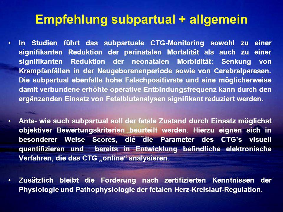 Empfehlung subpartual + allgemein In Studien führt das subpartuale CTG-Monitoring sowohl zu einer signifikanten Reduktion der perinatalen Mortalität a