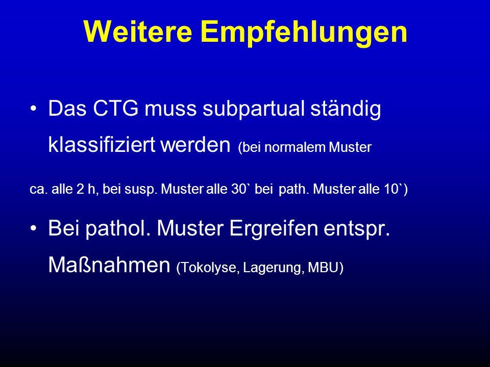 Fetale Skalpblutanalyse Indikation: 30 min. pathologisches CTG Ausnahme: Akute Bradykardie