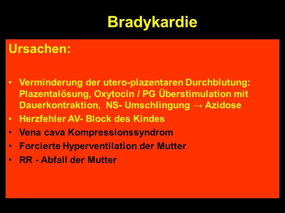Bradykardie Tachykardie - Ursachen Fetale Hypoxämie Fetale Rhytmusstörungen AIS Mütterliches Fieber / Aktivität ß- Sympathomimetika Ursachen: Verminde