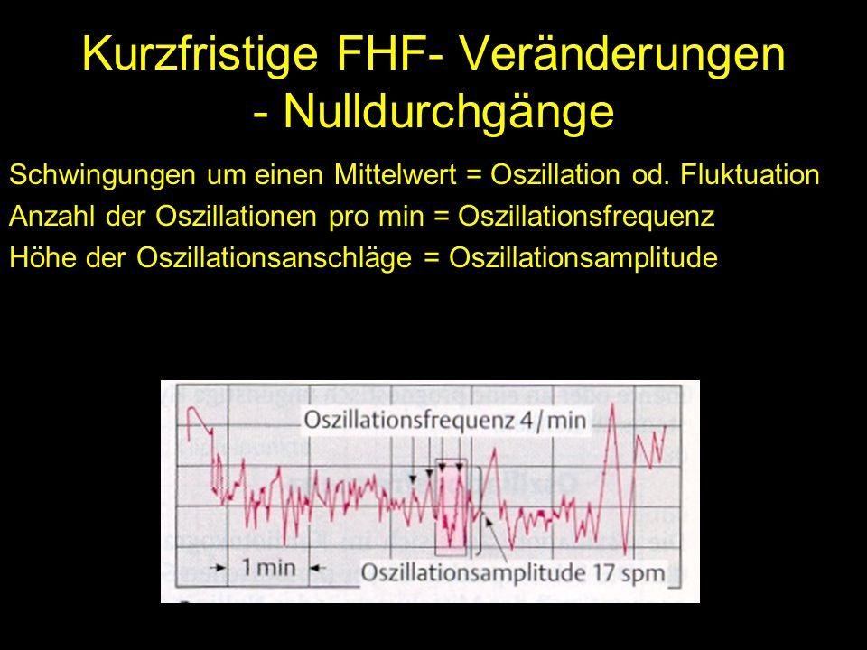 Kurzfristige FHF- Veränderungen - Nulldurchgänge Schwingungen um einen Mittelwert = Oszillation od. Fluktuation Anzahl der Oszillationen pro min = Osz