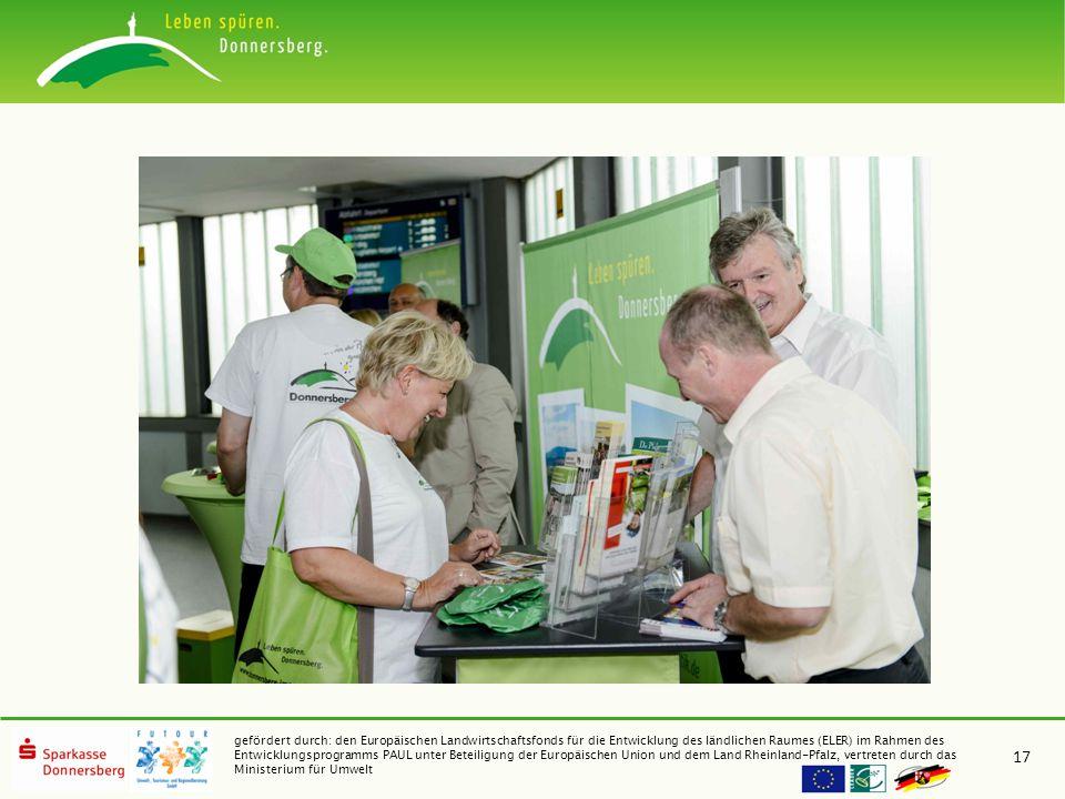gefördert durch: den Europäischen Landwirtschaftsfonds für die Entwicklung des ländlichen Raumes (ELER) im Rahmen des Entwicklungsprogramms PAUL unter Beteiligung der Europäischen Union und dem Land Rheinland-Pfalz, vertreten durch das Ministerium für Umwelt 17