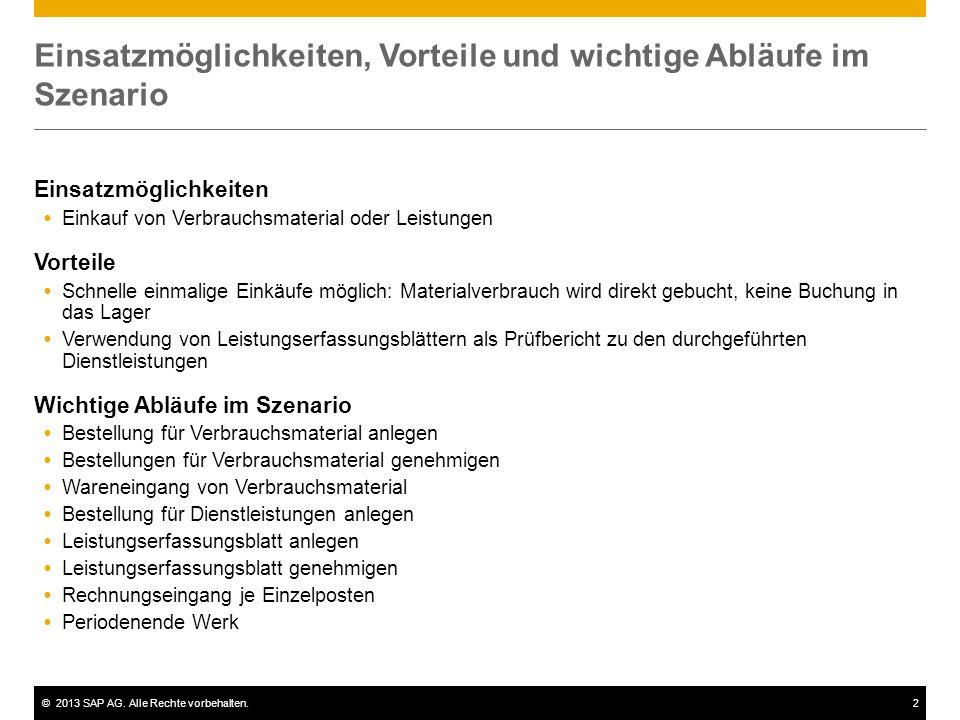 ©2013 SAP AG. Alle Rechte vorbehalten.2 Einsatzmöglichkeiten, Vorteile und wichtige Abläufe im Szenario Einsatzmöglichkeiten  Einkauf von Verbrauchsm