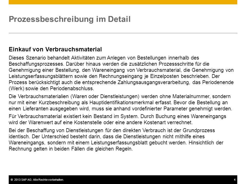 ©2013 SAP AG. Alle Rechte vorbehalten.4 Prozessbeschreibung im Detail Einkauf von Verbrauchsmaterial Dieses Szenario behandelt Aktivitäten zum Anlegen