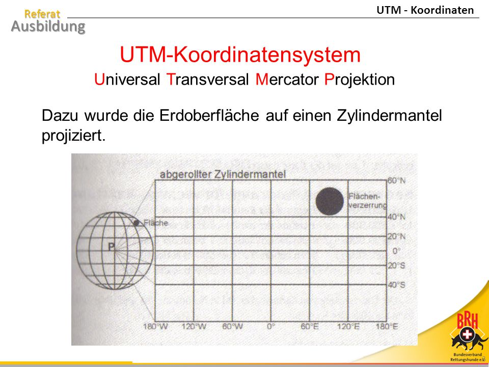 Referat Ausbildung 4 Beispiel: 32U NU 5597 7592 Einteilung der Erdoberfläche in 60 Meridianstreifensysteme mit jeweils 6 Längengraden und 22 Bändern zwischen den Polen.