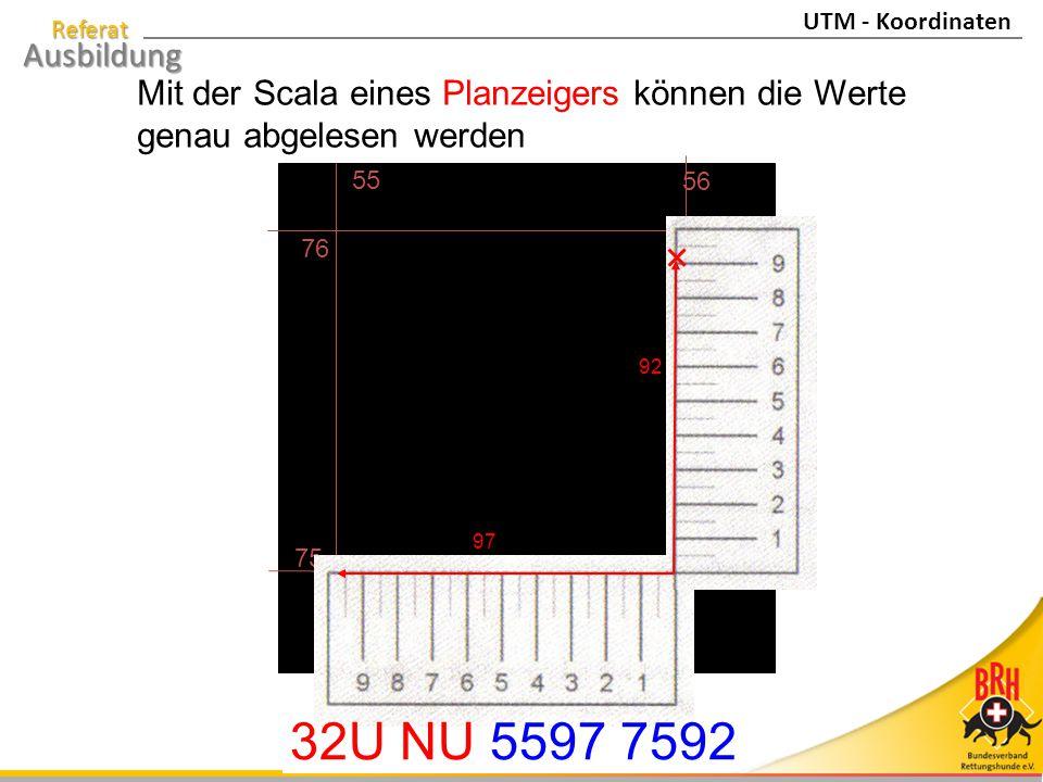 Referat Ausbildung Mit der Scala eines Planzeigers können die Werte genau abgelesen werden 75 76 55 56 97 92 32U NU 5597 7592 UTM - Koordinaten