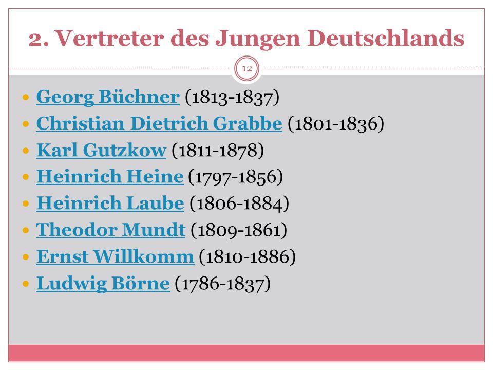 2. Vertreter des Jungen Deutschlands Georg Büchner (1813-1837) Georg Büchner Christian Dietrich Grabbe (1801-1836) Christian Dietrich Grabbe Karl Gutz