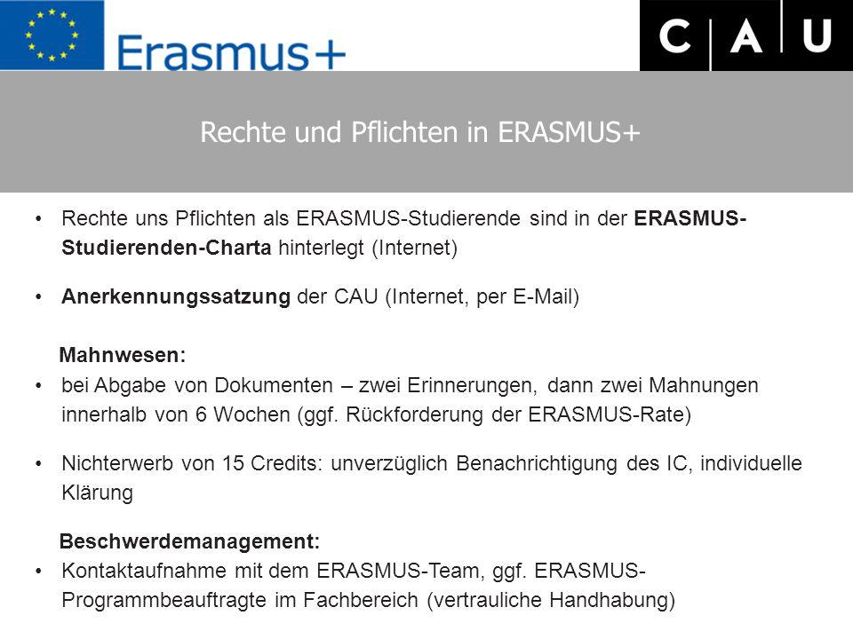 Rechte und Pflichten in ERASMUS+ Rechte uns Pflichten als ERASMUS-Studierende sind in der ERASMUS- Studierenden-Charta hinterlegt (Internet) Anerkennungssatzung der CAU (Internet, per E-Mail) Mahnwesen: bei Abgabe von Dokumenten – zwei Erinnerungen, dann zwei Mahnungen innerhalb von 6 Wochen (ggf.