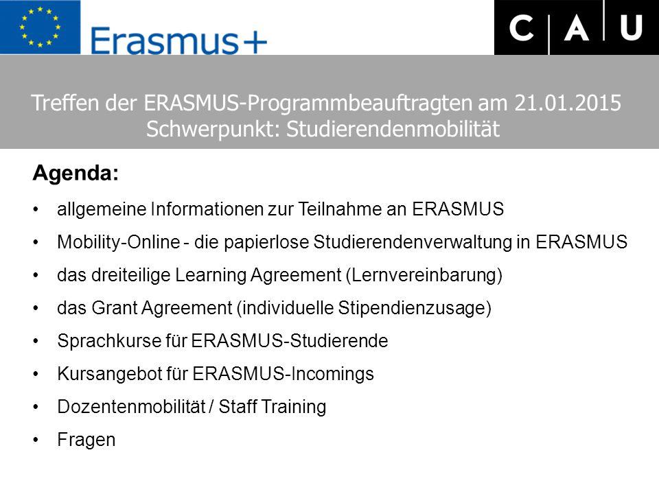 Agenda: allgemeine Informationen zur Teilnahme an ERASMUS Mobility-Online - die papierlose Studierendenverwaltung in ERASMUS das dreiteilige Learning