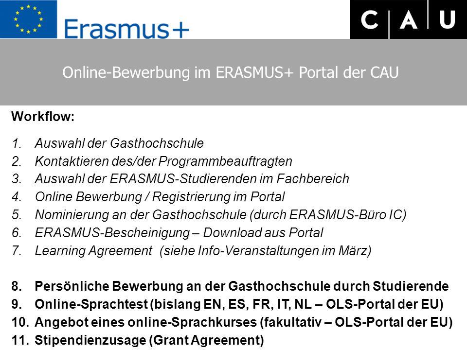 Online-Bewerbung im ERASMUS+ Portal der CAU Workflow: 1.Auswahl der Gasthochschule 2.Kontaktieren des/der Programmbeauftragten 3.Auswahl der ERASMUS-S