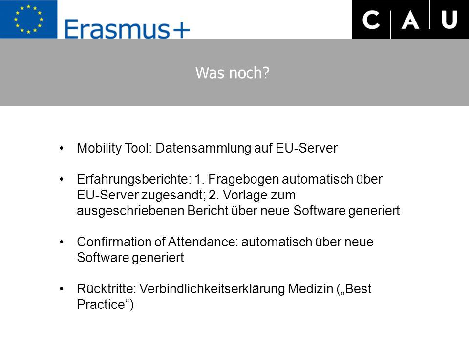 Was noch? Mobility Tool: Datensammlung auf EU-Server Erfahrungsberichte: 1. Fragebogen automatisch über EU-Server zugesandt; 2. Vorlage zum ausgeschri