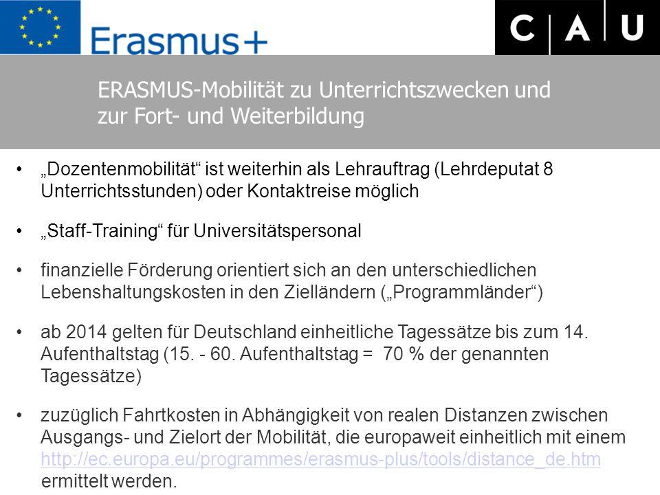 """ERASMUS-Mobilität zu Unterrichtszwecken und zur Fort- und Weiterbildung """"Dozentenmobilität ist weiterhin als Lehrauftrag (Lehrdeputat 8 Unterrichtsstunden) oder Kontaktreise möglich """"Staff-Training für Universitätspersonal finanzielle Förderung orientiert sich an den unterschiedlichen Lebenshaltungskosten in den Zielländern (""""Programmländer ) ab 2014 gelten für Deutschland einheitliche Tagessätze bis zum 14."""