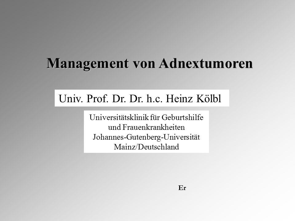 Universitätsklinik für Geburtshilfe und Frauenkrankheiten Johannes-Gutenberg-Universität Mainz/Deutschland Management von Adnextumoren Management von