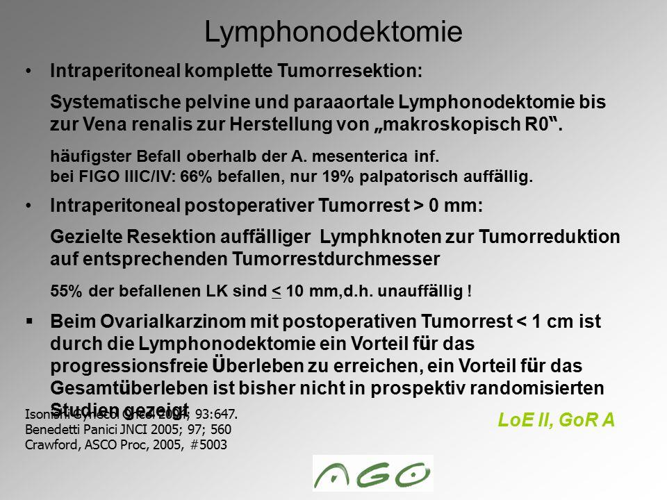 """Intraperitoneal komplette Tumorresektion: Systematische pelvine und paraaortale Lymphonodektomie bis zur Vena renalis zur Herstellung von """" makroskopi"""