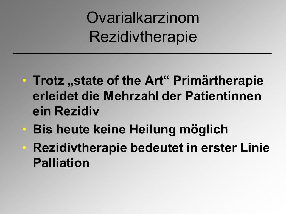 """Ovarialkarzinom Rezidivtherapie Trotz """"state of the Art"""" Primärtherapie erleidet die Mehrzahl der Patientinnen ein Rezidiv Bis heute keine Heilung mög"""