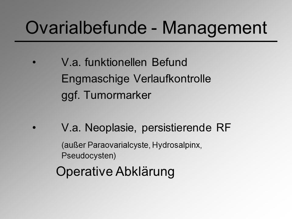 Ovarialbefunde - Management V.a. funktionellen Befund Engmaschige Verlaufkontrolle ggf. Tumormarker V.a. Neoplasie, persistierende RF (außer Paraovari