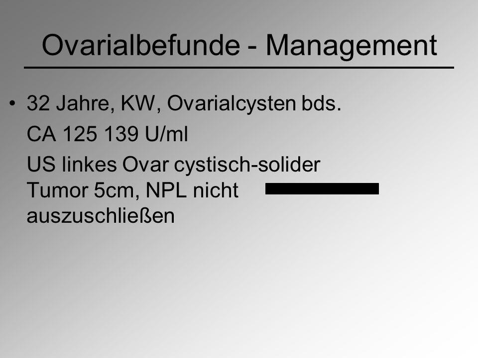 Ovarialbefunde - Management 32 Jahre, KW, Ovarialcysten bds. CA 125 139 U/ml US linkes Ovar cystisch-solider Tumor 5cm, NPL nicht auszuschließen