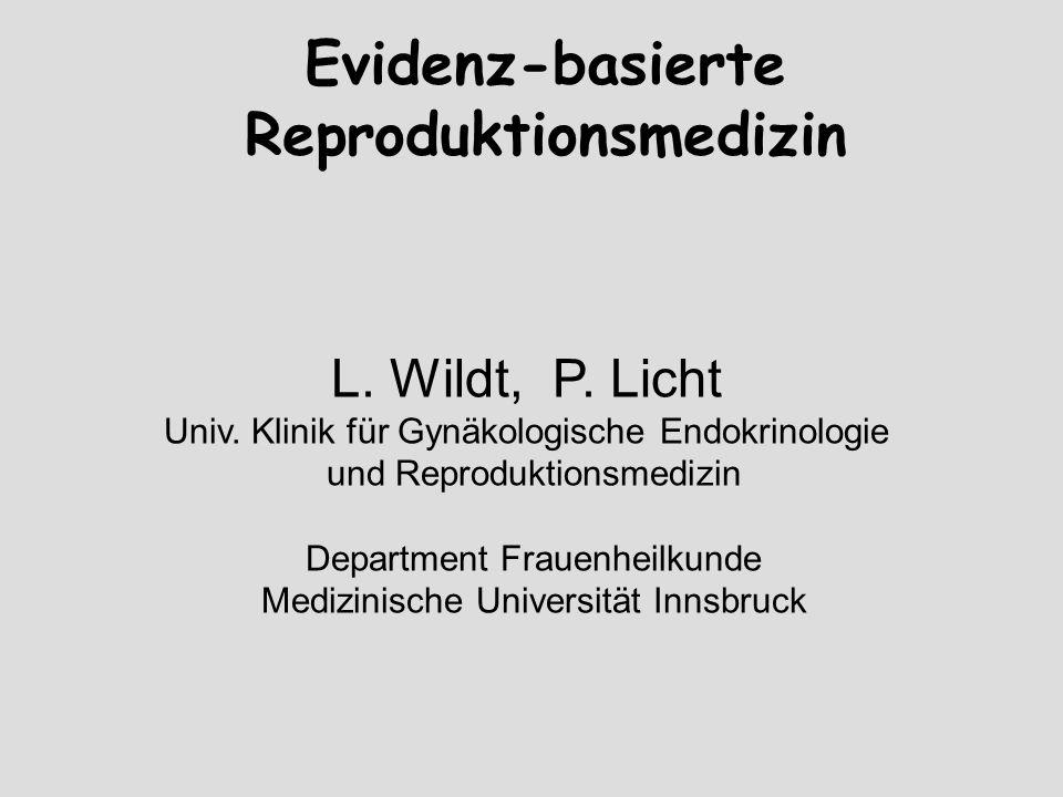 Evidenz-basierte Reproduktionsmedizin L. Wildt, P. Licht Univ. Klinik für Gynäkologische Endokrinologie und Reproduktionsmedizin Department Frauenheil