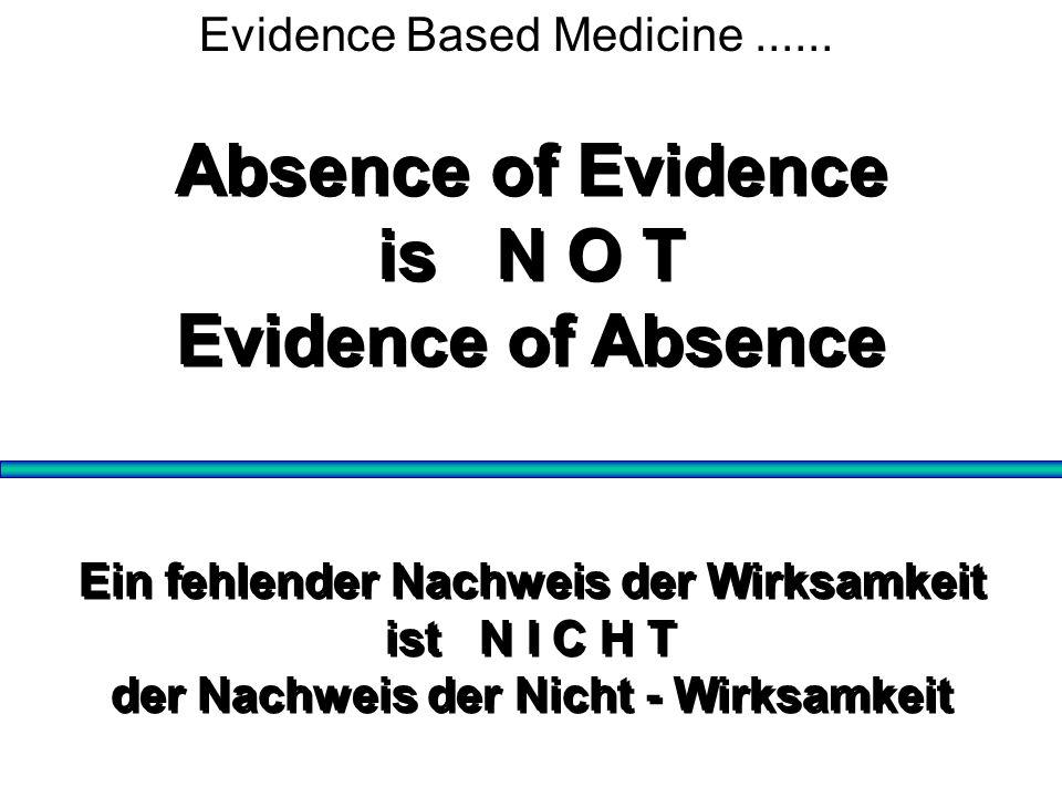 Ein fehlender Nachweis der Wirksamkeit ist N I C H T der Nachweis der Nicht - Wirksamkeit Ein fehlender Nachweis der Wirksamkeit ist N I C H T der Nac