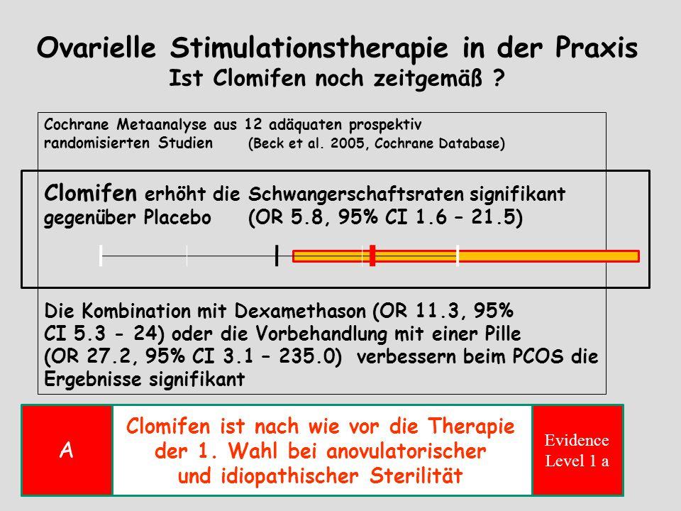 Ovarielle Stimulationstherapie in der Praxis Ist Clomifen noch zeitgemäß ? Cochrane Metaanalyse aus 12 adäquaten prospektiv randomisierten Studien (Be