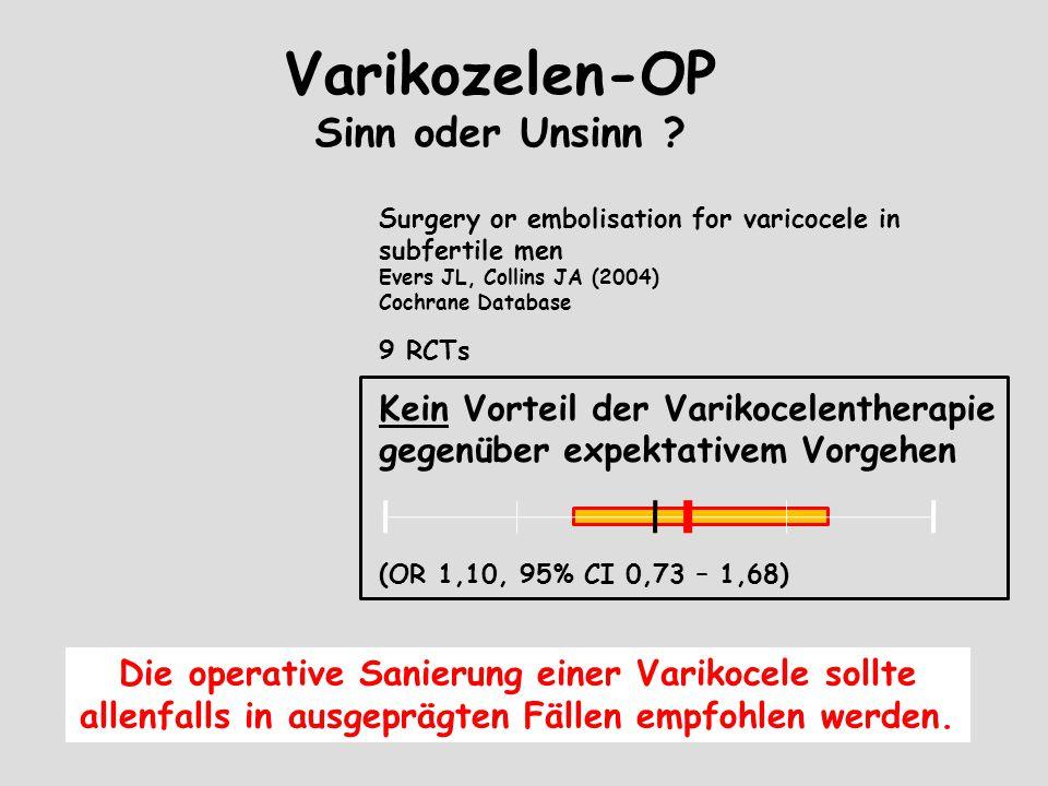Varikozelen-OP Sinn oder Unsinn ? Surgery or embolisation for varicocele in subfertile men Evers JL, Collins JA (2004) Cochrane Database 9 RCTs Kein V
