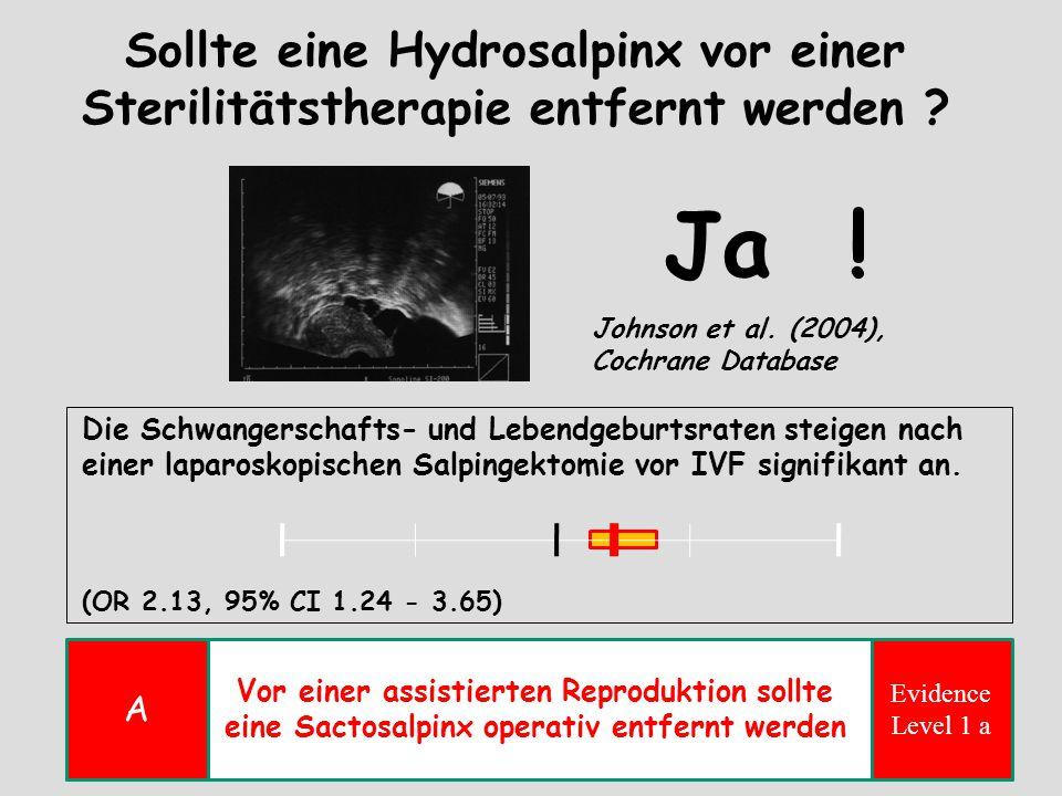 Sollte eine Hydrosalpinx vor einer Sterilitätstherapie entfernt werden ? Johnson et al. (2004), Cochrane Database Die Schwangerschafts- und Lebendgebu