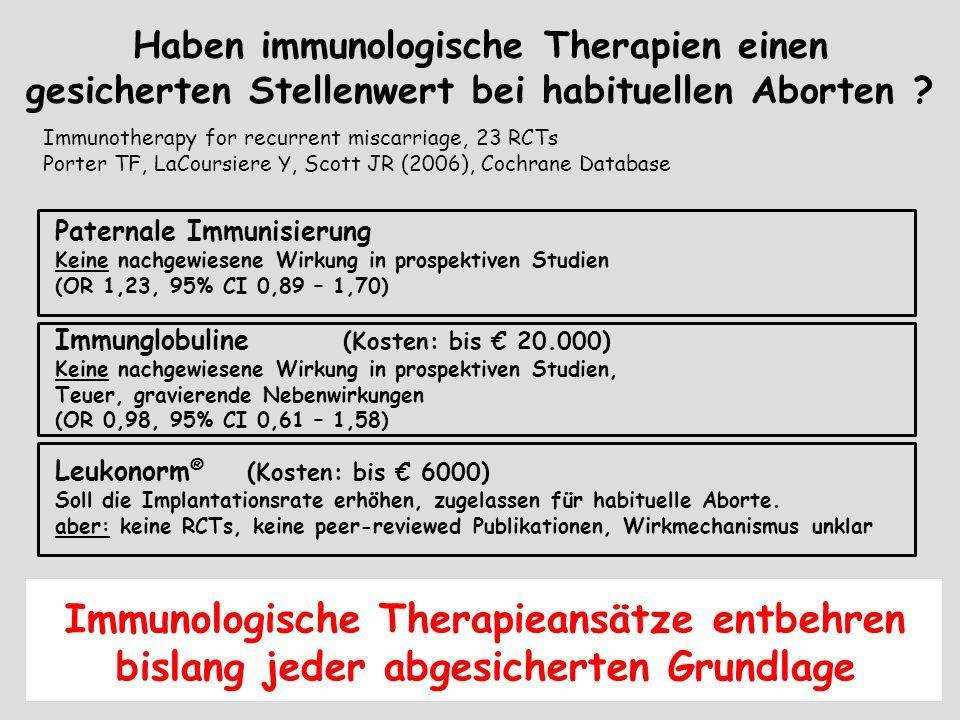 Haben immunologische Therapien einen gesicherten Stellenwert bei habituellen Aborten ? Immunotherapy for recurrent miscarriage, 23 RCTs Porter TF, LaC