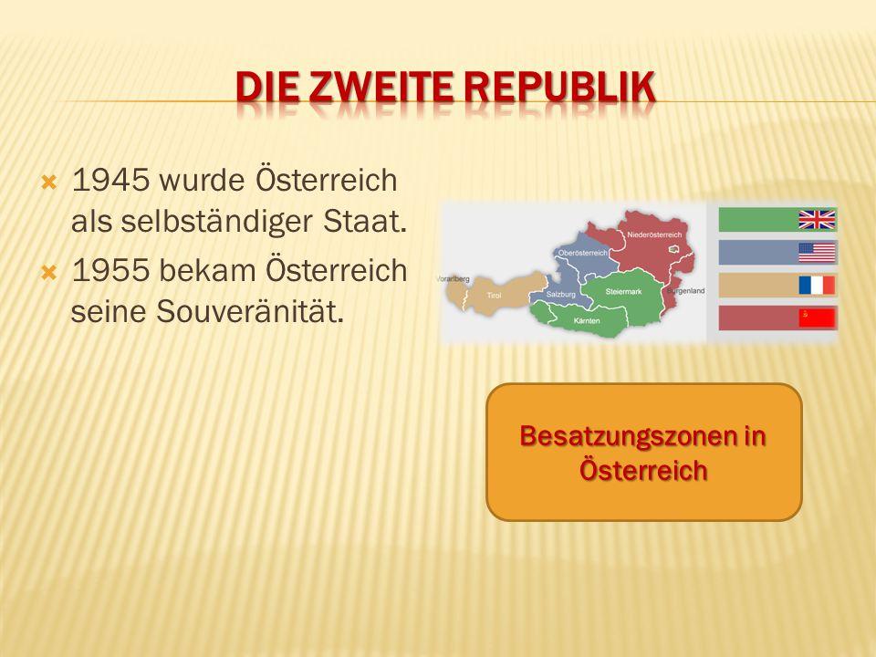  1945 wurde Österreich als selbständiger Staat.  1955 bekam Österreich seine Souveränität. Besatzungszonen in Österreich