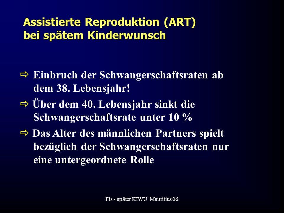 Fis - später KIWU Mauritius 06 Assistierte Reproduktion (ART) bei spätem Kinderwunsch  Einbruch der Schwangerschaftsraten ab dem 38.
