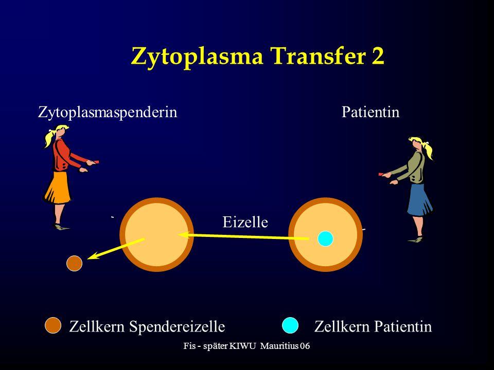 Fis - später KIWU Mauritius 06 Zytoplasma Transfer 2 ZytoplasmaspenderinPatientin Eizelle Zellkern SpendereizelleZellkern Patientin