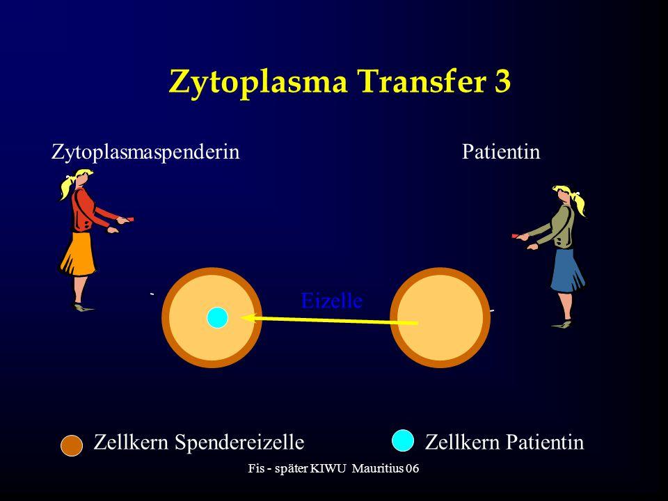 Fis - später KIWU Mauritius 06 Zytoplasma Transfer 3 ZytoplasmaspenderinPatientin Eizelle Zellkern SpendereizelleZellkern Patientin