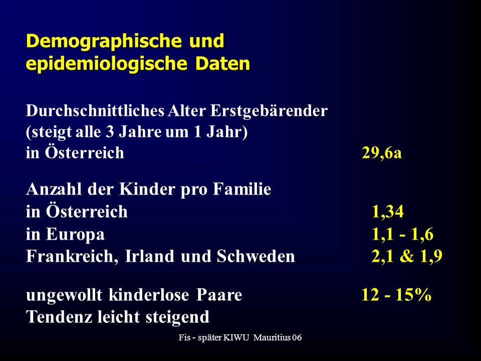 Fis - später KIWU Mauritius 06 Demographische und epidemiologische Daten Durchschnittliches Alter Erstgebärender (steigt alle 3 Jahre um 1 Jahr) in Österreich 29,6a Anzahl der Kinder pro Familie in Österreich 1,34 in Europa 1,1 - 1,6 Frankreich, Irland und Schweden 2,1 & 1,9 ungewollt kinderlose Paare 12 - 15% Tendenz leicht steigend