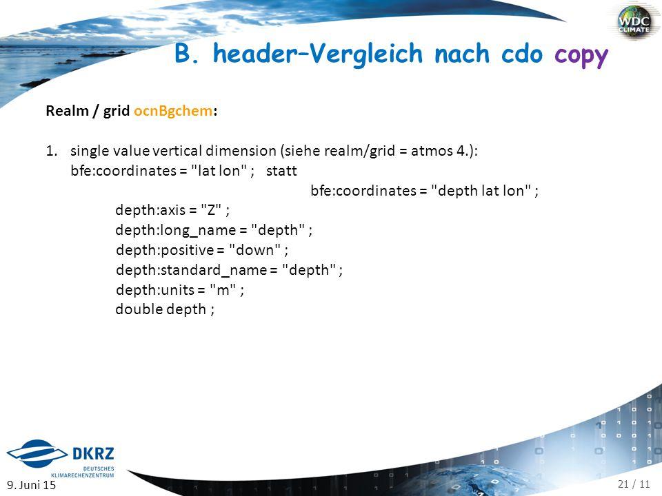 21 / 11 Realm / grid ocnBgchem: 1.single value vertical dimension (siehe realm/grid = atmos 4.): bfe:coordinates = lat lon ; statt bfe:coordinates = depth lat lon ; depth:axis = Z ; depth:long_name = depth ; depth:positive = down ; depth:standard_name = depth ; depth:units = m ; double depth ; 9.