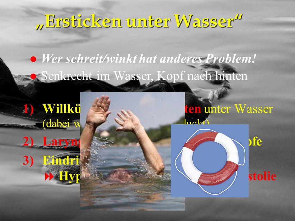 """NA-Kurs Eisenstadt 26.4.2012 """"Ersticken unter Wasser"""" 1)Willkürliches Atemanhalten unter Wasser (dabei wird viel Wasser verschluckt) 2)Laryngospasmus"""
