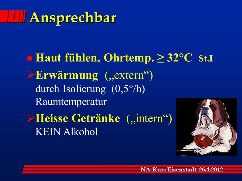 "NA-Kurs Eisenstadt 26.4.2012 Ansprechbar l Haut fühlen, Ohrtemp. ≥ 32°C St.I  Erwärmung (""extern"") durch Isolierung (0,5°/h) Raumtemperatur  Heisse"