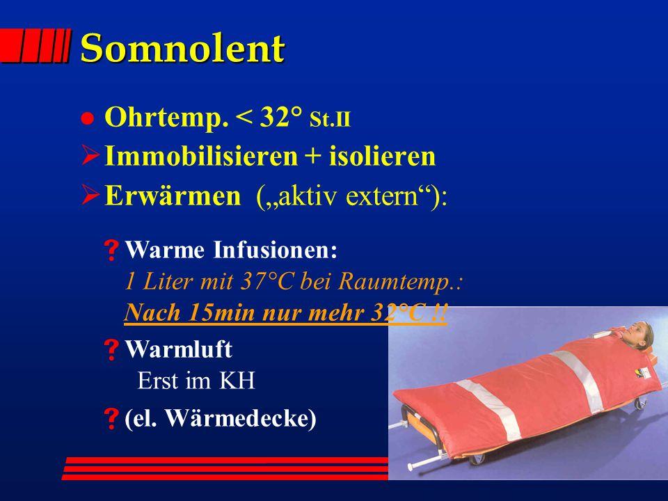 """NA-Kurs Eisenstadt 26.4.2012 Somnolent l Ohrtemp. < 32° St.II  Immobilisieren + isolieren  Erwärmen (""""aktiv extern""""):  Warme Infusionen: 1 Liter mi"""