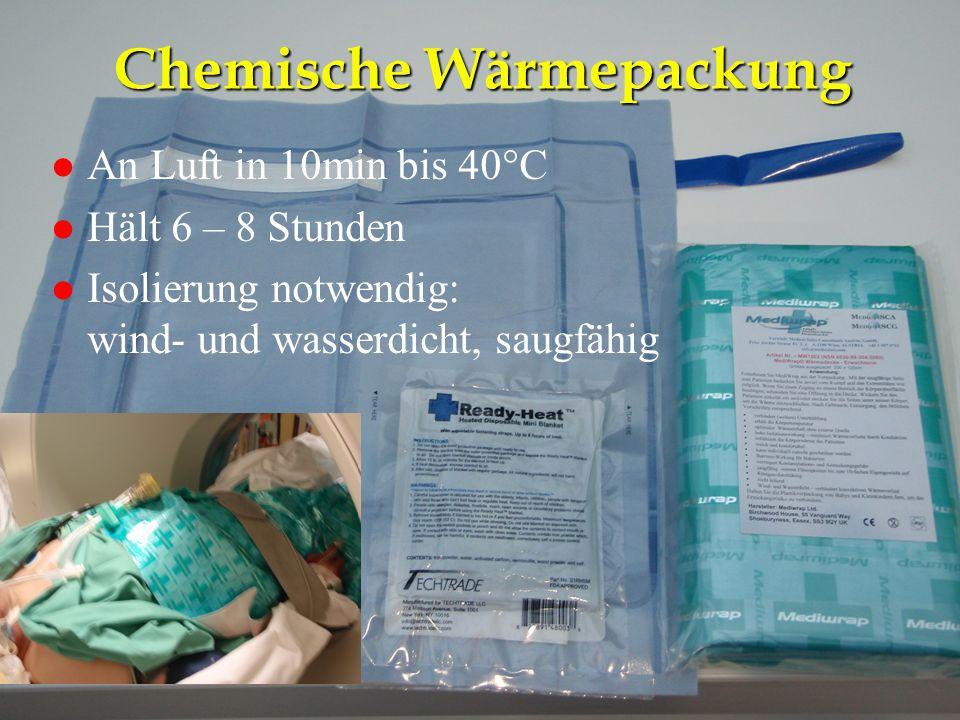 NA-Kurs Eisenstadt 26.4.2012 Chemische Wärmepackung l An Luft in 10min bis 40°C l Hält 6 – 8 Stunden l Isolierung notwendig: wind- und wasserdicht, sa