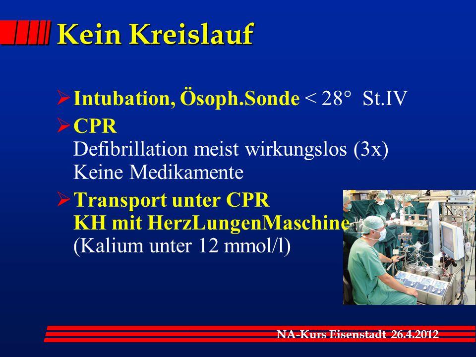 NA-Kurs Eisenstadt 26.4.2012 Kein Kreislauf  Intubation, Ösoph.Sonde < 28° St.IV  CPR Defibrillation meist wirkungslos (3x) Keine Medikamente  Transport unter CPR KH mit HerzLungenMaschine (Kalium unter 12 mmol/l)