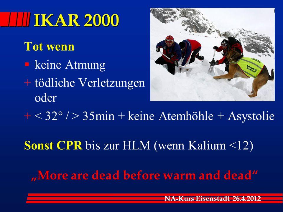 NA-Kurs Eisenstadt 26.4.2012 Tot wenn  keine Atmung +tödliche Verletzungen oder + 35min + keine Atemhöhle + Asystolie Sonst CPR bis zur HLM (wenn Kal