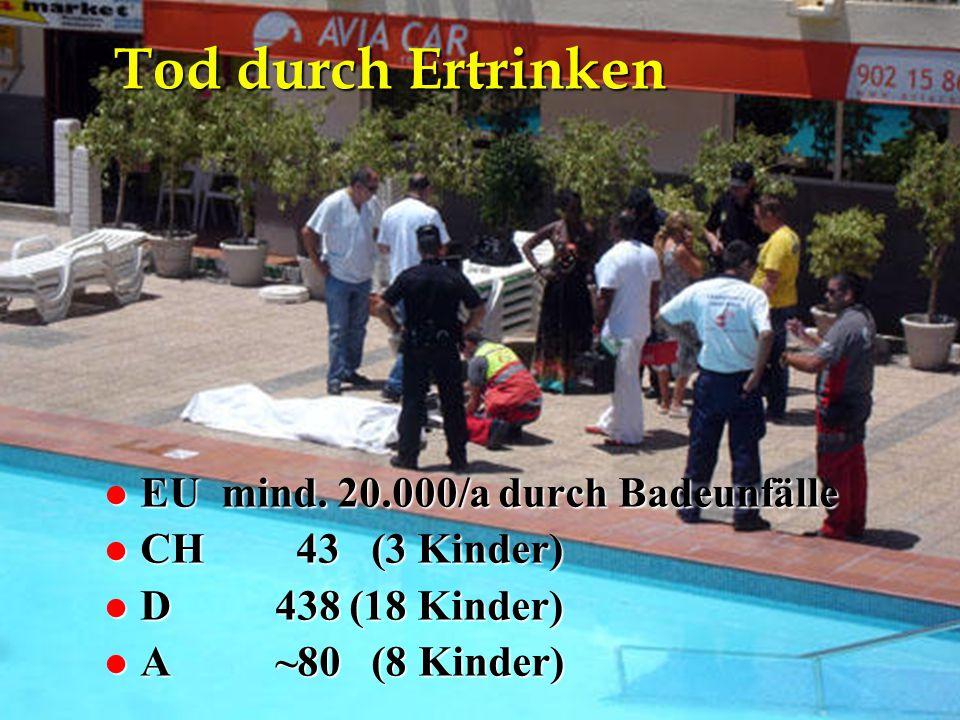 NA-Kurs Eisenstadt 26.4.2012 Tod durch Ertrinken l EU mind. 20.000/a durch Badeunfälle l CH43 (3 Kinder) l D 438 (18 Kinder) l A ~80 (8 Kinder)