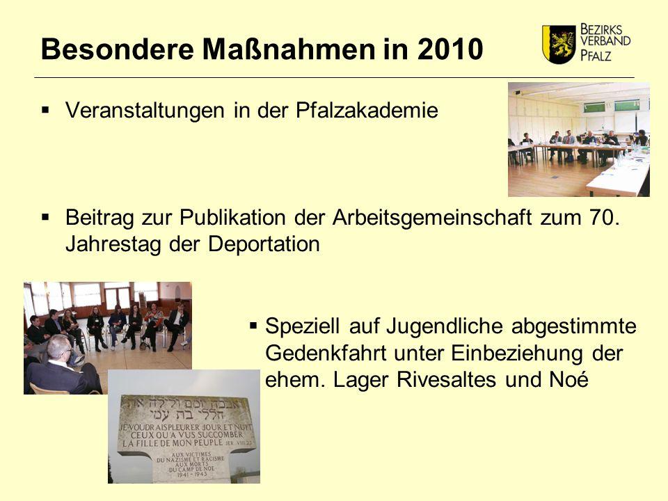 Besondere Maßnahmen in 2010  Veranstaltungen in der Pfalzakademie  Beitrag zur Publikation der Arbeitsgemeinschaft zum 70.