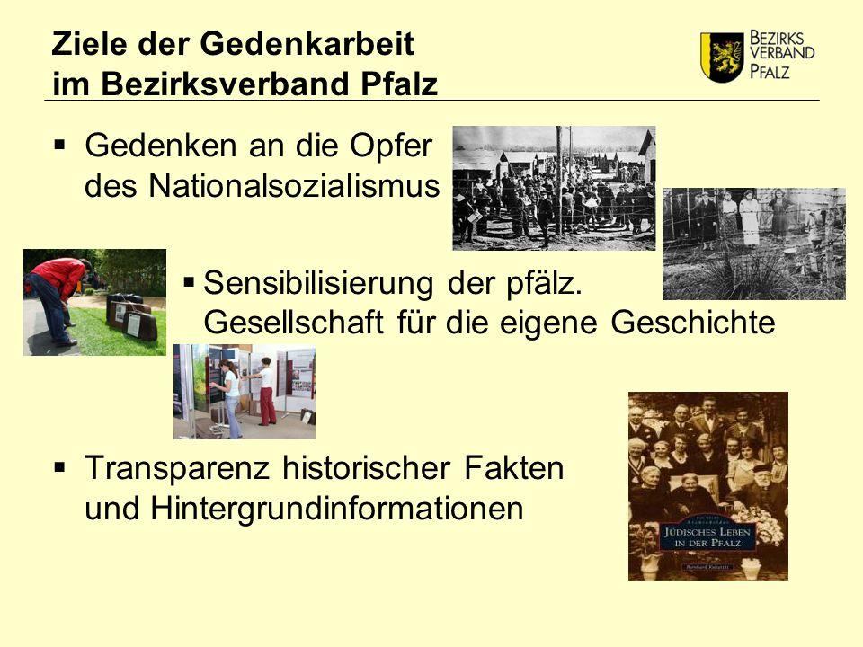 Ziele der Gedenkarbeit im Bezirksverband Pfalz  Gedenken an die Opfer des Nationalsozialismus  Sensibilisierung der pfälz.